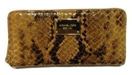 Michael Kors Zip-Around Za Continental Genuine Leather Wallet Sand - $159.39