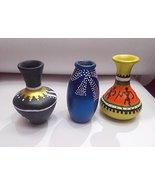 Terracotta Hand painted warli art indoor pot set of 3 unique design small - $39.60