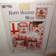 Happy Holiday Mugs Cross Stitch Leaflet 83095 Leisure Arts 1993 Christma... - $9.99