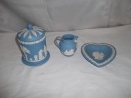 China Pottery Wedgwood Arcadian Blue Cover Lid Jar  Heart Dish Creamer J... - $59.39