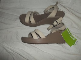 NEW  CROCS 'Leigh' Women's Comfortable Wedge Ankle Strap Sandal Beige Size 10 - $69.29