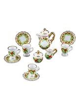 Dollhouse Christmas Holly Coffee Set 1.336/6 Reutter Porcelain for 4  Mi... - $46.50