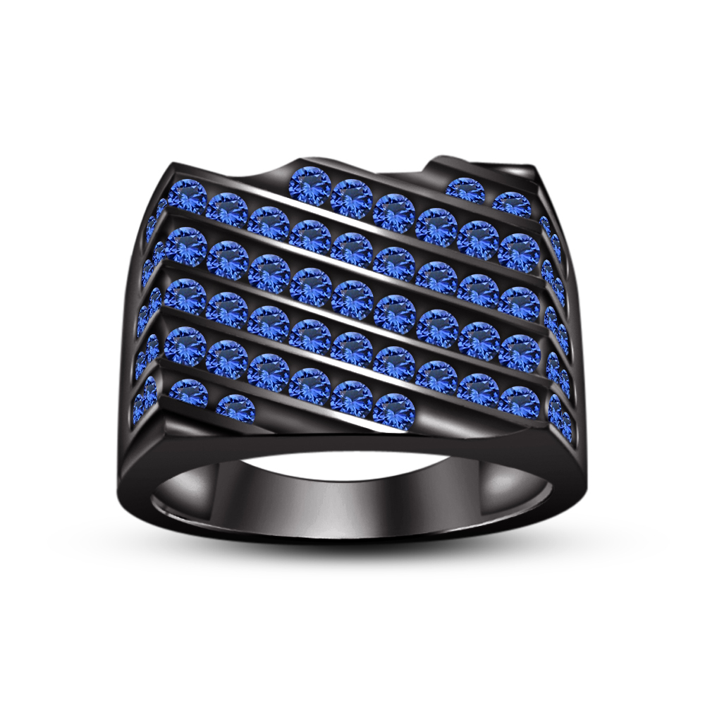 Primary image for Men's 14K Black GP Blue Sapphire Attractive Engagement Band Ring & Free Shipping
