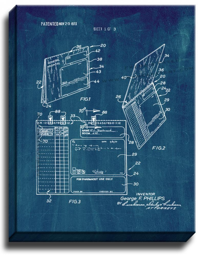 Primary image for Hospital RX Script Pad Patent Print Midnight Blue on Canvas