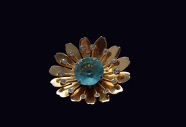 1940s Coro Sterling Vermeil Retro Brooch or/and pendant with a large aqua cut gl - $55.00
