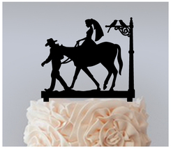Wedding,Cake topper,Cupcake topper,silhouette cowboy bride and groom : 11 pcs - $20.00