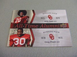 2011 Upper Deck Oklahoma Sooners All-Time Alumni Billy Sims & Greg Pruitt - $3.12