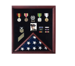 AMERICAN MILITARY CASKET FLAG AND MEDAL MEMORIAL BURIAL DISPLAY CASE SHA... - $712.49