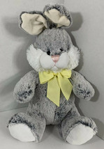 Animal Adventure gray white Bunny Rabbit Plush yellow bow ribbon 2015 - $11.87