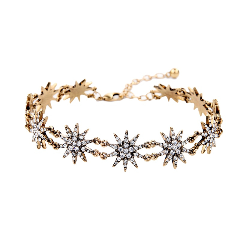 Crystal stars choker necklace unique antique gold color brand jewelry 2017 vintage accessories 1