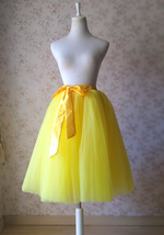 YELLOW Midi Tulle Skirt Yellow Wedding Bridesmaid Tulle Skirt 6-layer Tutu Skirt