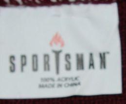 Sportsman Burgendy White Stripped Winter Hat Scarf Set Acrylic image 6