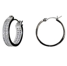 PAVE 2 ROW ALL AROUND CUBIC ZIRCONIA EARRINGS -BRIDAL-15MM - $39.59