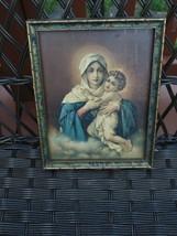 1920s Blessed Mother Mary baby Jesus framed Print original frame  AMAZIN... - $79.19