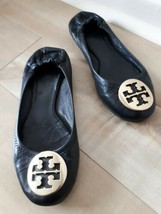 TORY BURCH Womens REVA Ballet Flat Shoes Gold Logo Black Leather Size 7 - $29.37