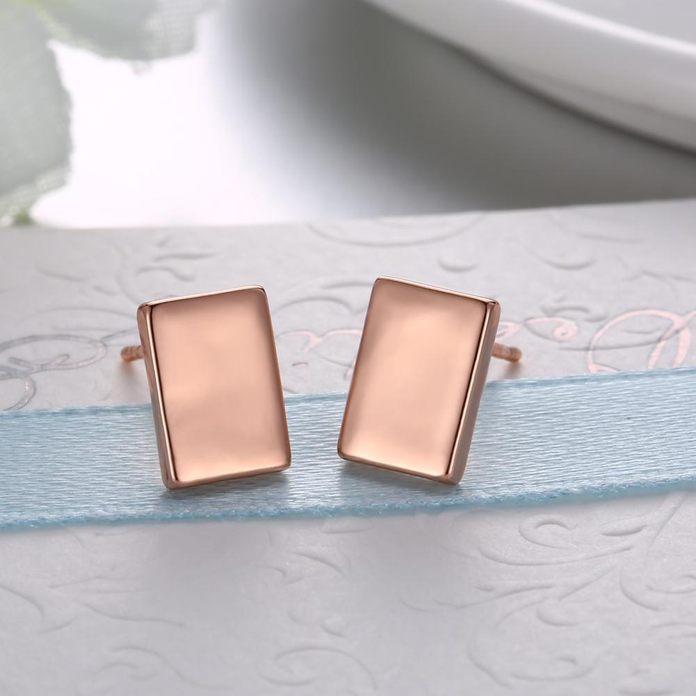 18K Rose Gold Plated Square Shape Stud Earring