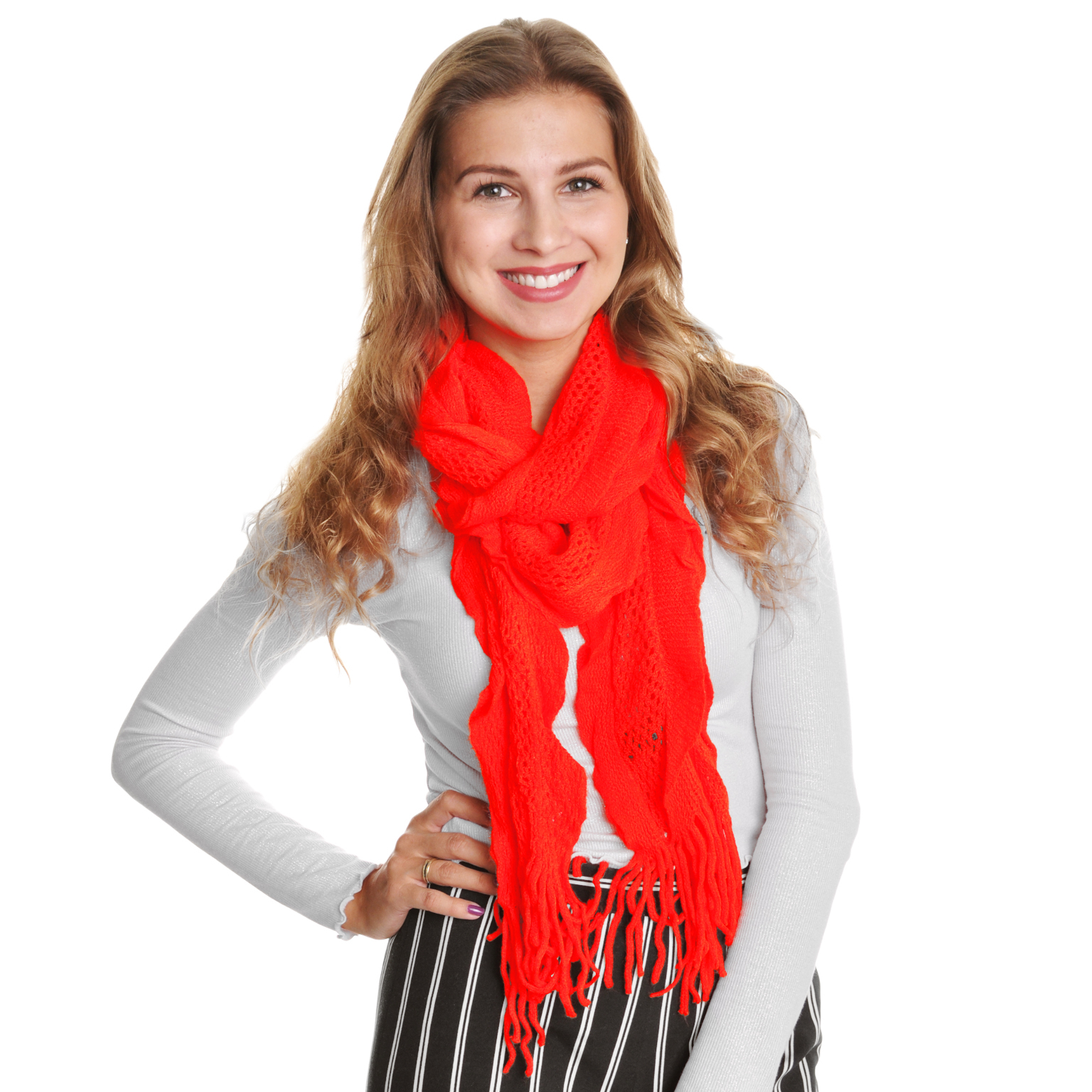 Case of [48] Angelina Knit Ruffled Knit Fringe Scarves - Assorted Solid Colors