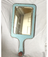 Hobby Lobby decorative wall mirror vintage style distressed blue cutting... - $4.00