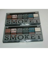 2X L.A. COLORS Eyeshadow Palette 12 Shades SMOKEY Tips Back Of Compact S... - $10.44