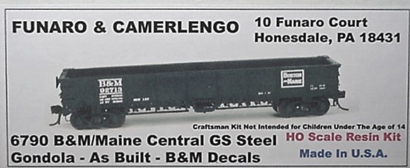 Funaro & Camerlengo HO B&M GS Steel Gondola as built Kit 6790