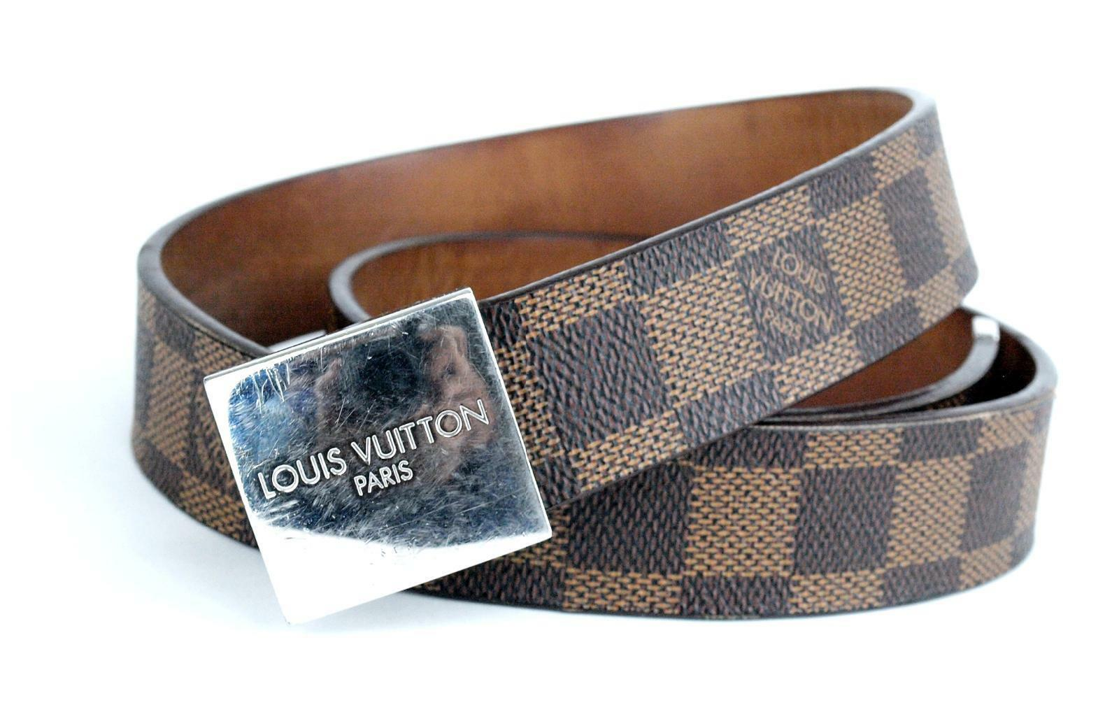 Primary image for Louis Vuitton Paris Damier Brown Canvas Leather Waist Belt Size 81 CM Spain Used