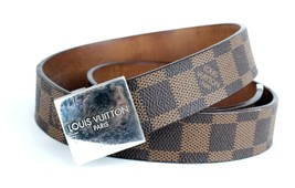 Louis Vuitton Paris Damier Brown Canvas Leather Waist Belt Size 81 CM Sp... - $355.41