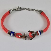 Steel Bracelet & Rope with Anchor & Cylinders Enamelled in Various Colours image 2