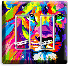 Colorful Lion Abstract Art 2 Gfi Switch Outlet Wall Plate Covers Room Home Decor - $11.69