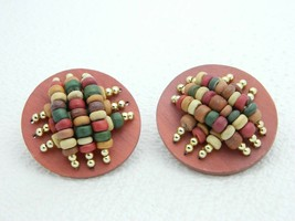 VTG Gold Tone Large Multi Color Wood Wooden Bead Circle Post Earrings - $19.80