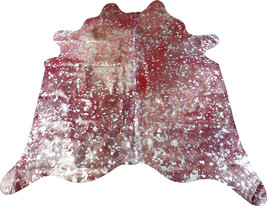 Metallic Cowhide Rug Size 6' X 6' Silver Metallic on Dyed Red Cowhide M-181 - $226.71