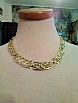 VINTAGE GOLDEN CHOKER NECKLACE FILIGREE CURVED LINKS + MATCHING EARRINGS - $45.00