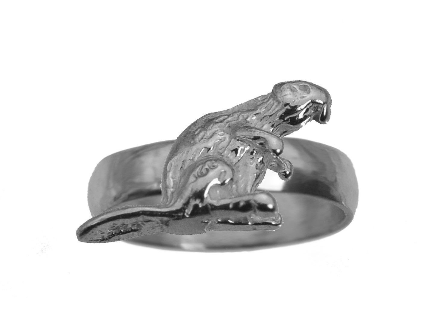 Busy as a Beaver Solid Real Sterling Silver 925 Ring Jewelry pick size New