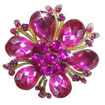 P ugster Vintage Purple Drop Stone Crystal Rhinestone Open Petal Floral ... - $31.99