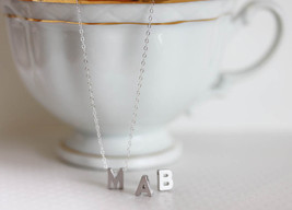 SALE Silver Letter Necklace Silver Initial Necklace Personalized Letter ... - $25.00