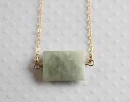 Geometric Aquamarine Necklace 14 Karat Gold Filled March Birthstone - $32.00