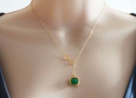 Emerald Lariat Necklace Emerald Green Necklace Infinity Emerald Gold Necklace We - $32.00