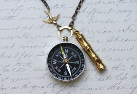 Working Compass Necklace - Lost at Sea -Captains Whistle -Working Compass and Wh - $30.00