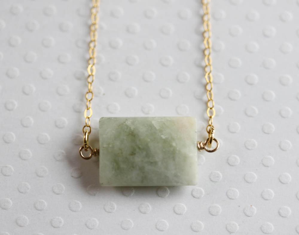 Geometric Aquamarine Necklace 14 Karat Gold Filled March Birthstone