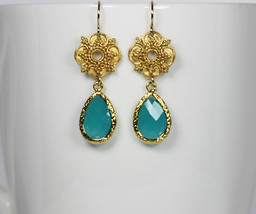 Teal Green Crystal Gold Drop Earrings - $32.00