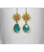 Teal Green Crystal Gold Drop Earrings - $32.00