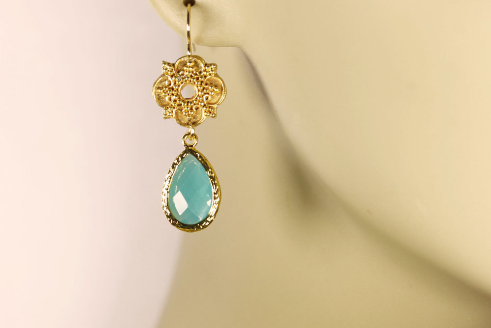 Teal Green Crystal Gold Drop Earrings