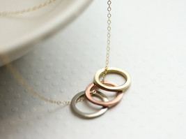 Three Circle Necklace Mixed Metal Colored Ring Necklace  Three Sisters -... - $34.00