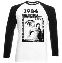1984 Orwell - New Black Sleeved Baseball T-Shirt S [Apparel] - $23.99
