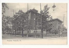 PA Pottsville Hospital Early Hanging Street Lamp Vtg Rotograph c 1908 Po... - $9.30