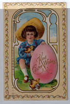 Easter Postcard Child Boy Chicks Egg Gold Embossed Vintage 1911 Nash - $7.59