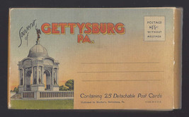 PA Gettysburg Souvenir Booklet 25 Full Size Detachable Linen Post Cards - $9.45