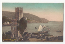 UK Devon Dartmouth Battery Point Sailing Ship Schooner Vtg ca 1910 Postcard - $8.54