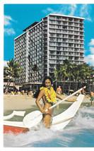Hawaii Outrigger Hotel Waikiki Honolulu Bikini Girl Boat Bathing Beauty ... - $6.36