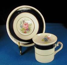 Fondeville Cobalt Blue Gold Floral Demitasse Cup & Saucer Ambassador Ware - $9.45