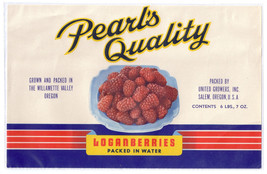 Fruit Can Label Pearl's Quality Loganberries Willamette Valley OR Large 6 lb 7 - $4.74